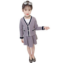 Korean Stylish Kids Girls Christmas Clothes Set Baby Girl Fleece Cardigan + Skirt Two Pieces Autumn Suits for