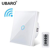 UBARO EU/UK Remote Control Switch Crystal Glass Panel Smart home wall light lamp 433 Wireless Controller Switches 100 240V 1Gang