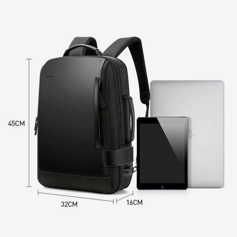 Bopai marca ampliar mochila usb carga externa 15.6 Polegada portátil mochila ombros homens anti-roubo mochila de viagem à prova dwaterproof água