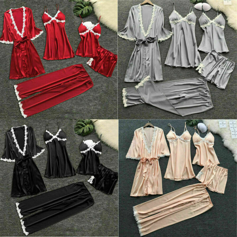 5pcs Womens Lingerie Lace Silk Babydoll Robe Nightwear Bathrobe Gown Pajamas Set