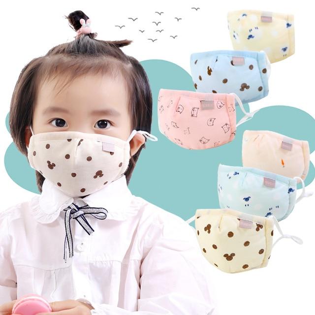 Boy Girl Face Cotton Mask Children Breathable Carton Mask Washable Cotton Kids Cute Animal Anti-Dust Mouth Masks 3