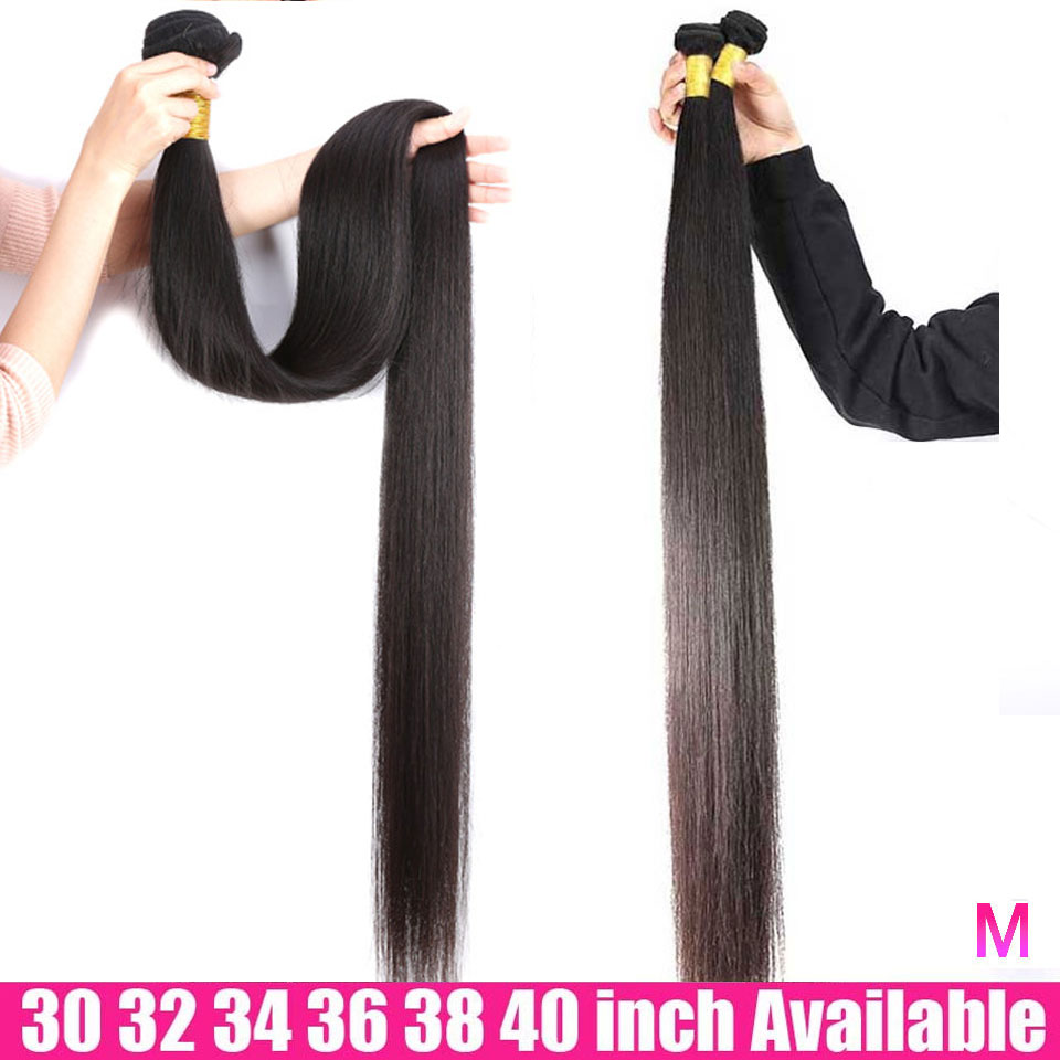 <font><b>40</b></font> 38 <font><b>36</b></font> 34 <font><b>32</b></font> <font><b>30</b></font> 28 Inch Bundles Straight Hair 1 3 4 Bundles Deals Brazilian Human Hair Weave Bundles Remy Hair Extensions image