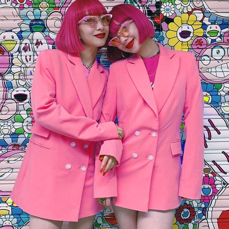 Vintage Double Breasted Office Ladies Fluorescent Pink Blazer Long Sleeve Loose Suit Coat Jacket Women Blazers Female 2019
