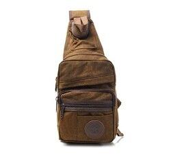 Дизайнерская холщовая кожаная нагрудная сумка через плечо, мужская сумка на лямках