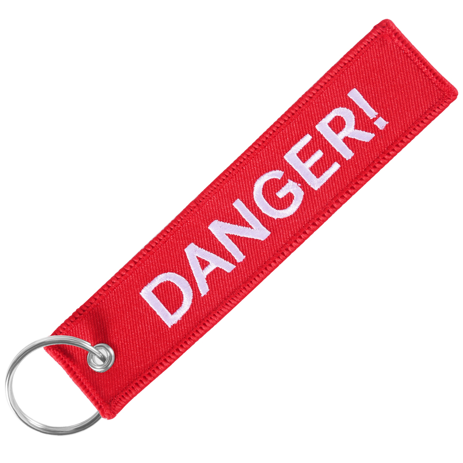 Fashion Danger Keychain Embroidery Key Chain For Motorcycles And Cars Key Tag Red Key Fobs Customized Keychains