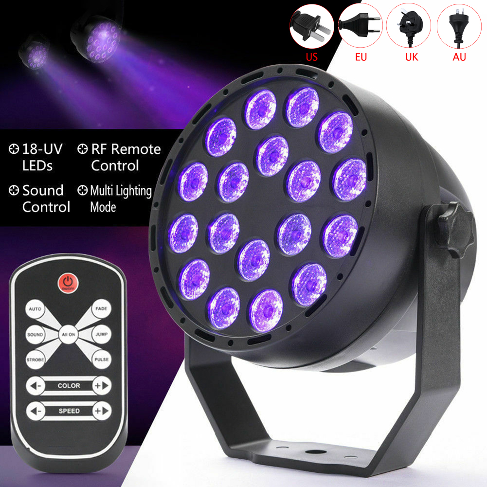 18 LED Clubs UV Stage PAR Light Party Wash Light Projector Light With Remote Spotlight DJ Projector Wash Lighting Wedding Show