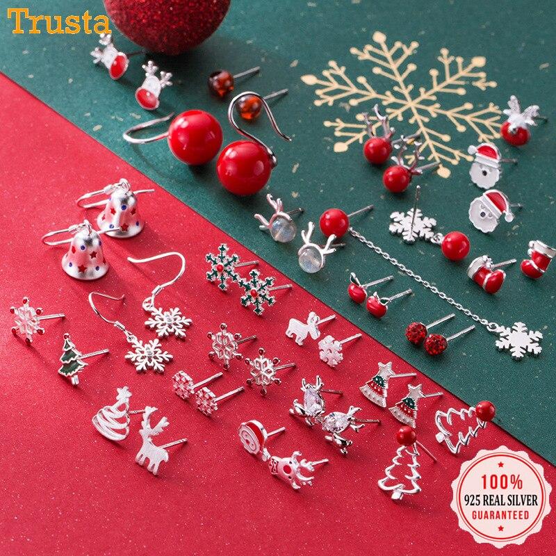 Trusta 2019 100% 925 Real Sterling Silver Fashion Women's Jewelry Sweet Christmas Stud Earring Gift For Girls Teens  Lady DA01