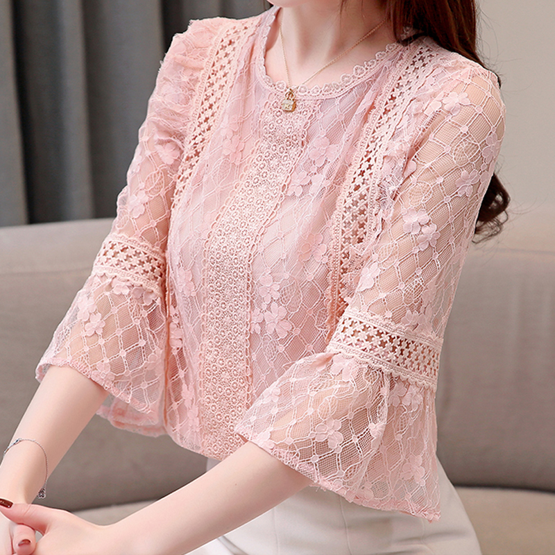 New Women Summer 2019 Women's Clothing Hollowed Out Print Ruffle Lace Seven-quarter Sleeve Blouses Shirt Sexy Female 809F6
