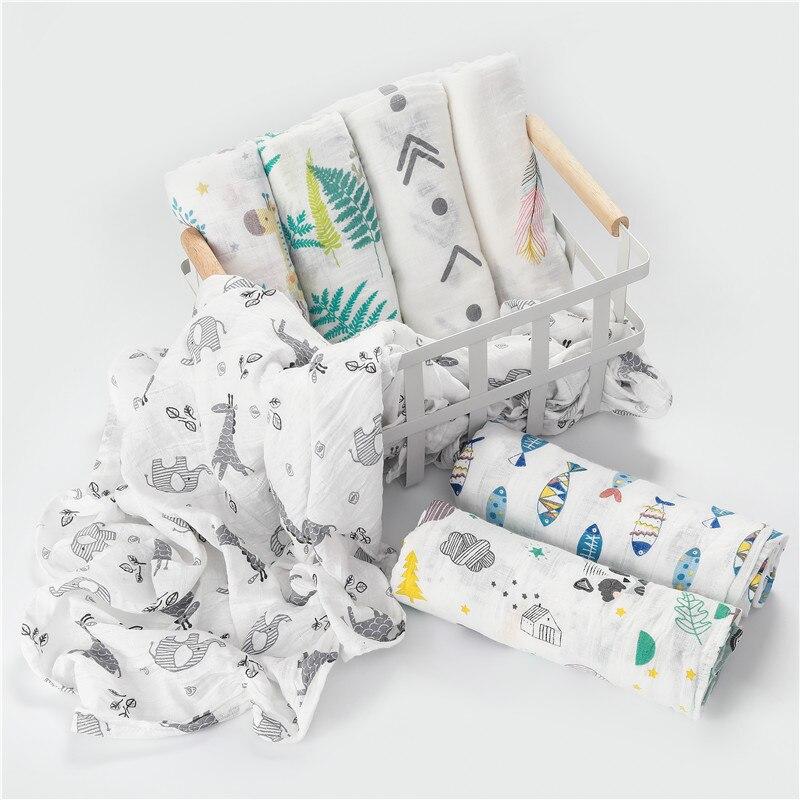 1 pieza de muselina 100% algodón bebé Swaddles suave recién nacido mantas de baño de gasa para bebés envoltorio para cochecito de cama