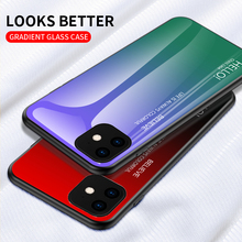 Tempered Glass Case For iPhone 7 8 X 6 6S Plus Gradient Color Blue Ray Aurora Skin Back Cover For iPhone 11 Pro XS Max X XR Case