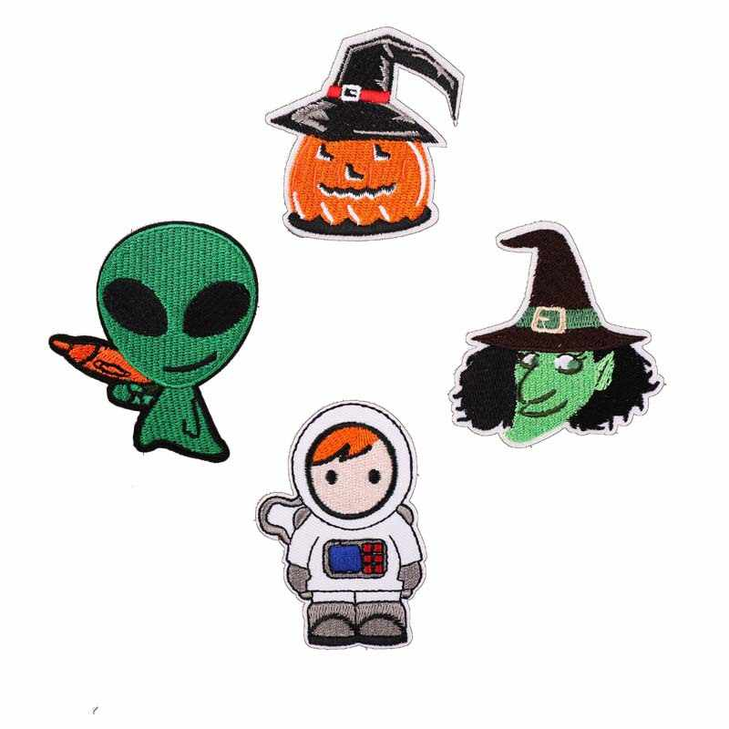 New Arrival Space Planet Alien Halloween Embroidered Patches Iron on Cartoon Motif Applique Fabric Clothing Dress Diy Accessory