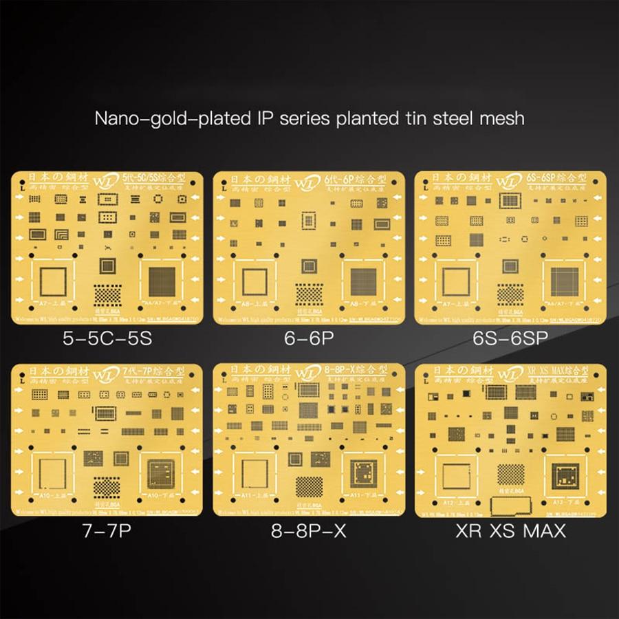 WL Golden BGA Reballing Stencil Kit 0.12mm Thickness Tin Mesh Solder Template for iPhone XSMAX XS XR X 8 8P 7P 7 6P 6 5 5S 2
