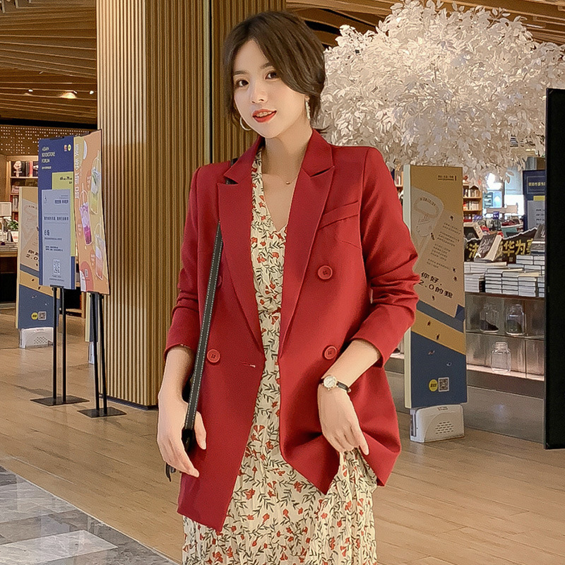 Women's Suit Casual Autumn New Long-sleeved Large Size Wine Red Blazer Office Suit Female Korean Version Of The Fashionable Top