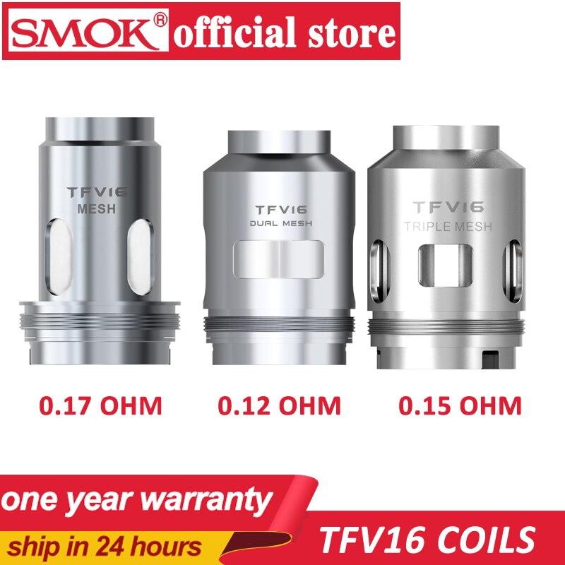 3pcs/lot Original SMOK TFV 16 Mesh Coil 0.17ohm Dual Mesh Coil 0.12ohm Triple Mesh Coil 0.15ohm Head Evaporator For TFV16 Tank