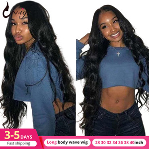Uwigs Long Brazilian Body Wave Lace Front Wig 28 30 32 34 36 38 40 Inches Lace Front Human Hair Wigs Pre Plucked Remy Lace Wigs(China)