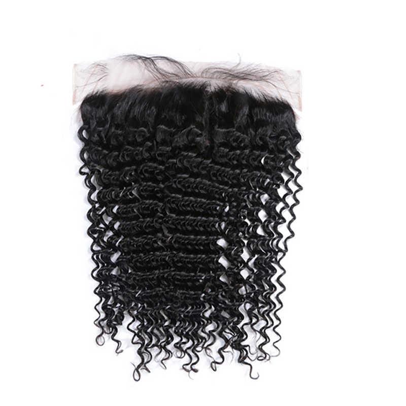 Gelombang Dalam Bundel dengan Penutupan Brasil Perawan Remy Keriting Rambut Manusia 3 4 Bundel Menenun dan 4X4 Renda penutupan/13X4 Renda Frontal