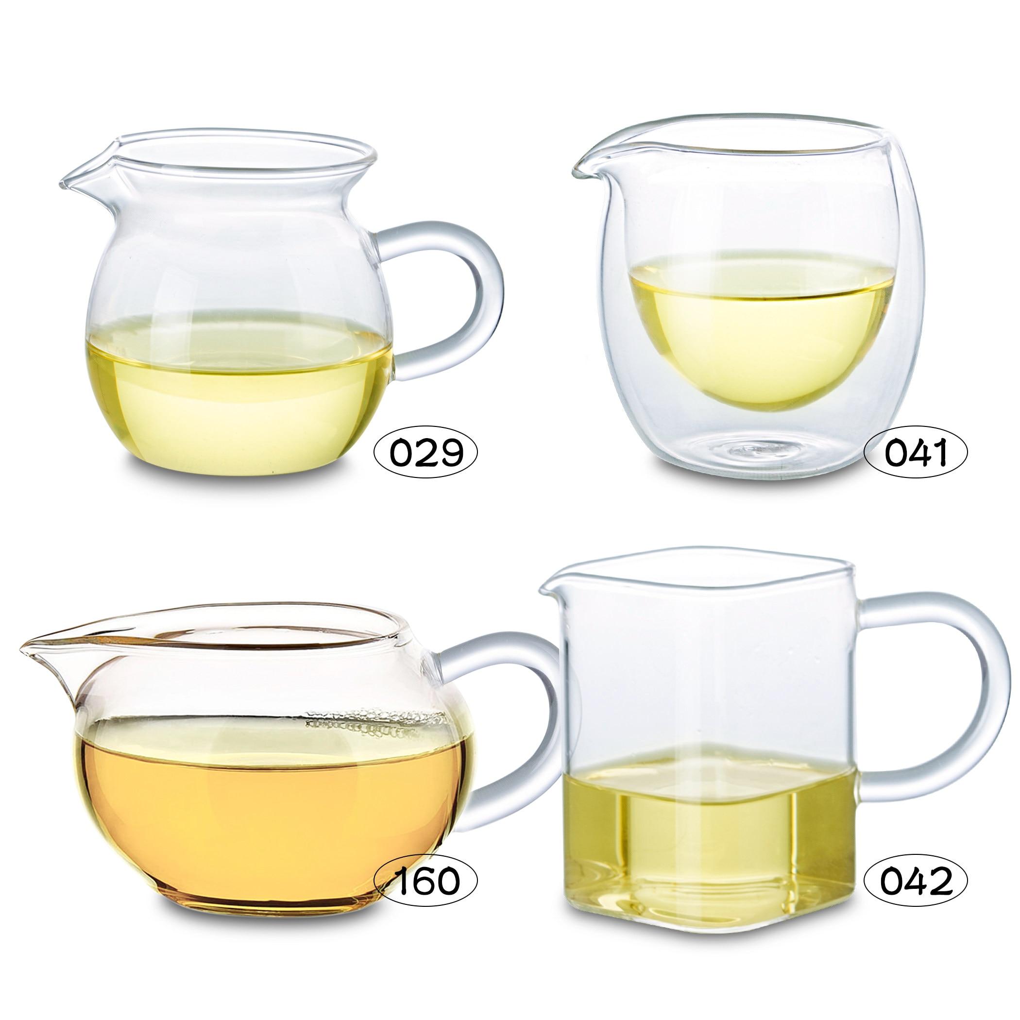 Tipos de jarra de vidrio transparente resistente al calor para servir té Gong chino fu Cha Hai