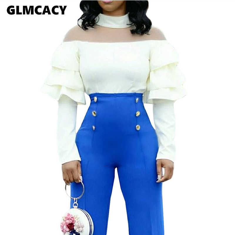 Женская блуза Falbala с длинными рукавами и оборками, белая блузка с оборками, летние элегантные женские топы, женские шорты и блузки