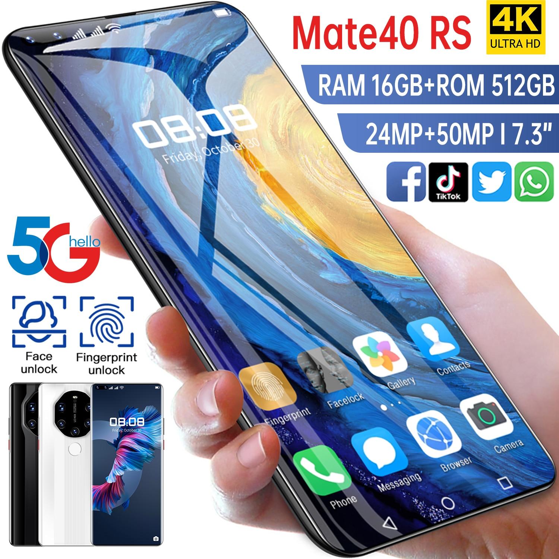 Глобальная Версия 16 ГБ 512 Mate40 RS 7,3 дюймовый смартфон мобильный телефон DVI 24 + 50 Мп 4G 5G сети 6800 мА/ч, GPS Wi-Fi, мобильный телефон