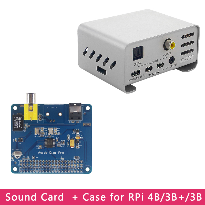 Raspberry Pi 4 AOIDE HIFI DiGi Pro Digital Sound Card Extension Board | Aluminum Alloy Case For Raspberry Pi 4 Model 3B+/3B