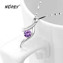 NEHZY 925 sterling silver nowa kobieta moda biżuteria wysokiej jakości fioletowy kryształ cyrkon prosty naszyjnik z wisiorkiem długość 45CM