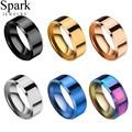 Кольцо из титановой нержавеющей стали Spark, черное, Радужное, голубое, розовое золото, простое кольцо для мужчин и женщин, ювелирные изделия