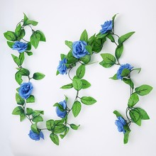 2.4m Artificial Rose Flower Vine Leaf Garland Wedding Party Home Decor Crafts(China)