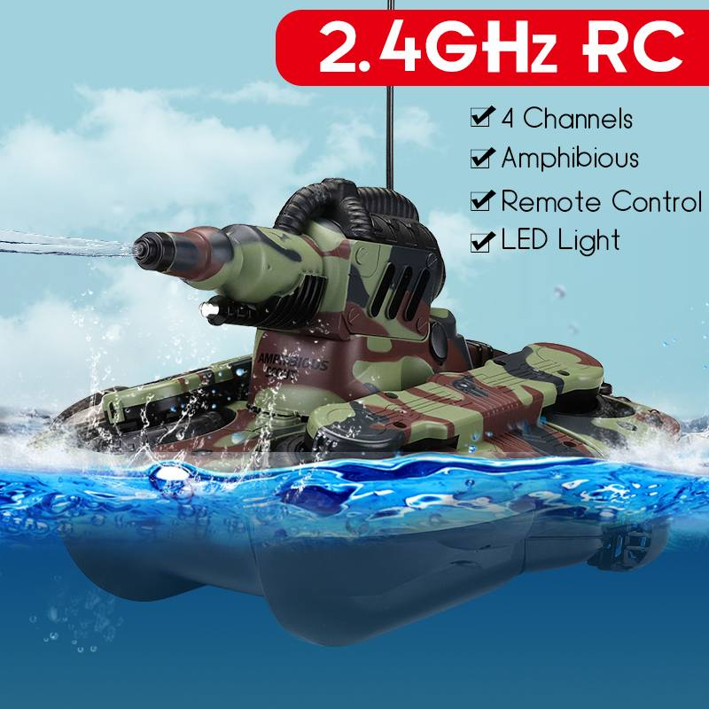 High-intensity LED Blinking 2.4 GHZ Remote Control Amphibious Tank Toys 4 WD Off-road Crawler Shockproof RC Car Gift For Kids