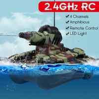 Hohe intensität LED Blinkt 2,4 GHZ Fernbedienung Amphibien Tank Spielzeug 4 WD Off-road Crawler Stoßfest RC auto Geschenk für Kinder