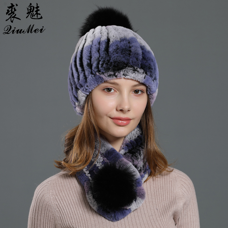 Real Fur Knitted Hat And Scarf Set For Women High Elastic Female Warm Genuine Fox Pom Natural Rex Rabbit Fur Neckerchief Beanies
