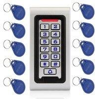 مقاوم للماء IP68 تتفاعل 125KHZ ID لوحة المفاتيح باب واحد مستقل التحكم في الوصول حافظة معدنية و Wiegand 26 بت + 10 قطعة بطاقات التعريف بالإشارات الراديوية ...