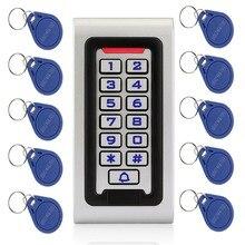 Resistente al agua IP68 RFID 125KHZ teclado de identificación soporte para puerta sola Control de acceso caja metálica y Wiegand 26 bit + 10 Uds tarjetas RFID F1215