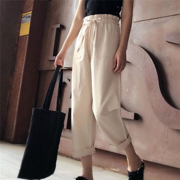 Women Casual Harajuku Spring Summer Long Thin Section Trousers Sashes High Elastic Waist Pants Ankle Length Haren Pants image