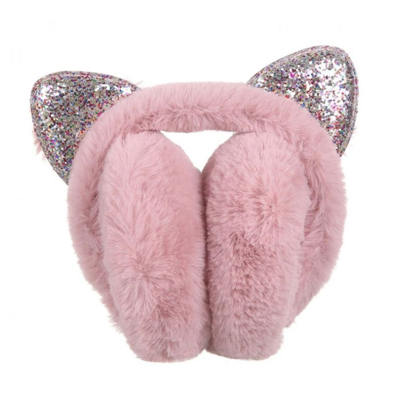 Women Women Girls Hamburger Shape Foldable Earmuffs Faux Fur Candy Color Cute Glitter Sequins Cat Ears Earflap Ear Cover Warmer