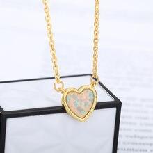 2021 модное ожерелье с подвеской в виде сердца из камня и опала