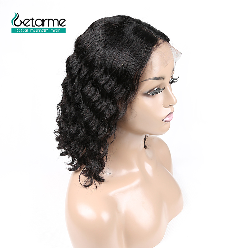 13x4 Short Bob Lace Front Human Hair Wigs Pre Plucked With Baby Hair Brazilian Loose Deep Wig 130% Lace Front Wigs For Black