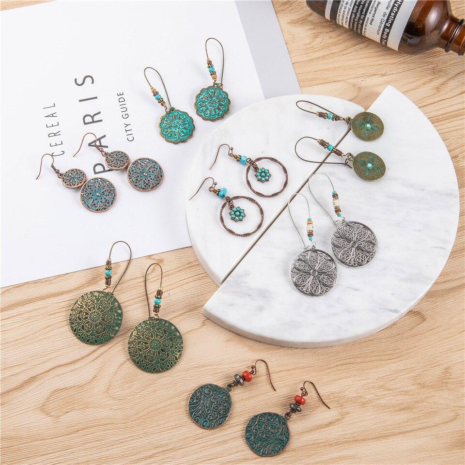 2019 new bohemian Round version of the earrings female models stones acrylic pendant earrings women ethnic big geometric jewelry wholesale (4)