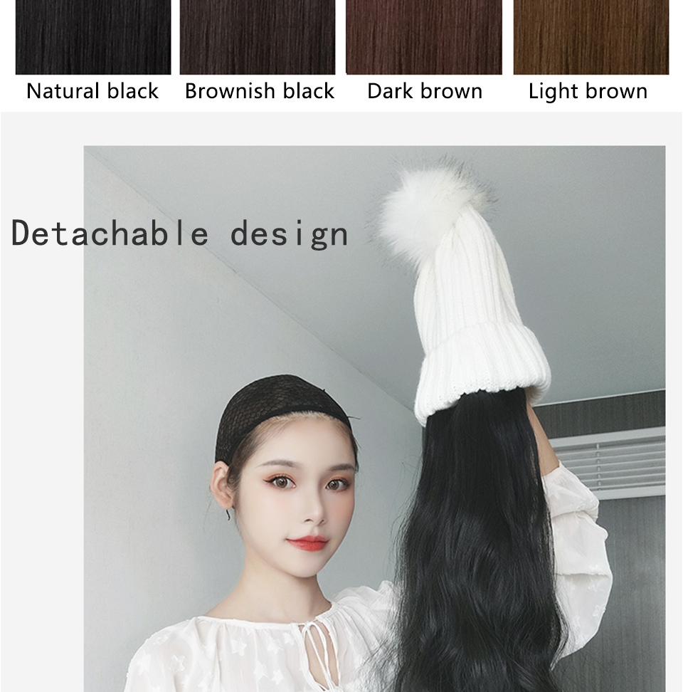 Long Straight/Wavy Knitted Wig Hat HahaGet