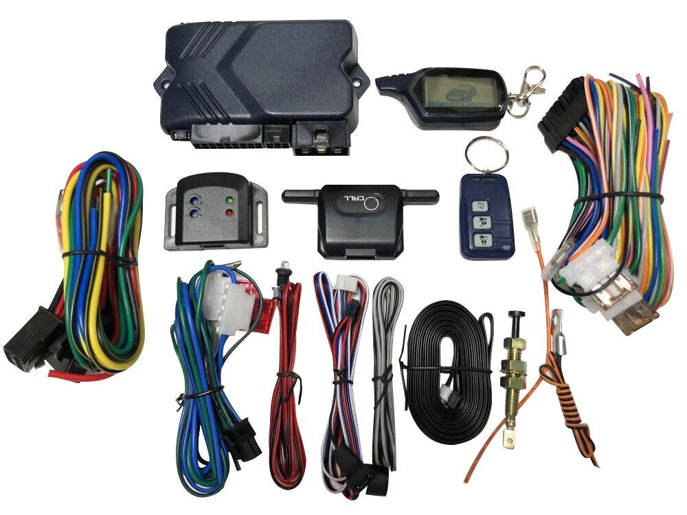 Versão russa em Dois Sentidos do Sistema de Alarme de Carro com o Arranque Do Motor LCD Controle Remoto Key Fob Caso Para B9 com silicone presente cobertura