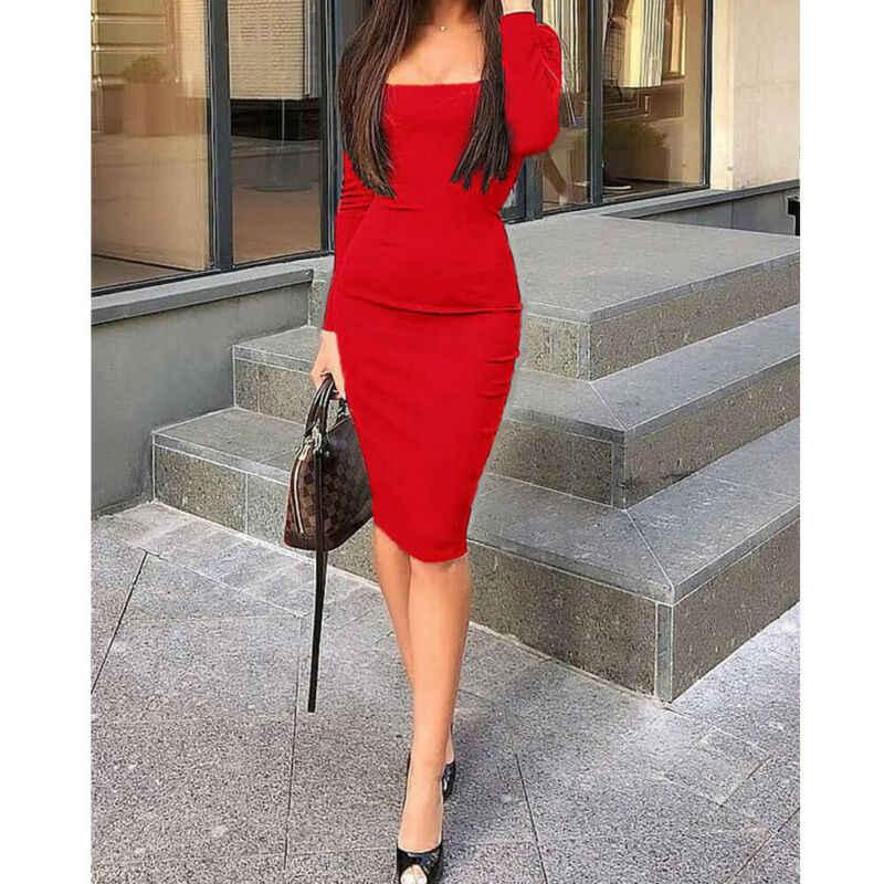 Donne Femme Boho Mini Abiti Più Il Formato casual Nuovo Vestito A Maniche Lunghe Aderente LadiesBodycon Knit Matita Midi Vestito Da Partito