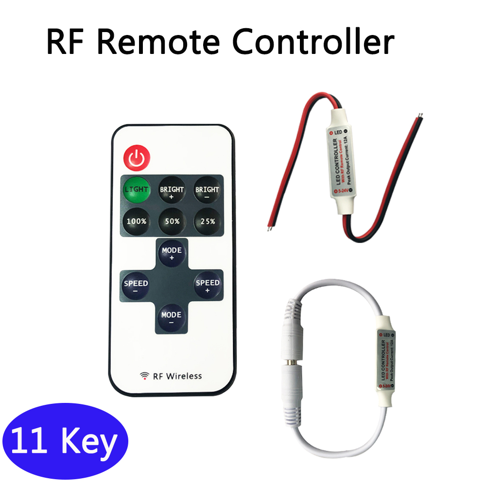 RF Remote Controller DC 12V 11 Key Mini Dimmer Switch For 5050 3528 5630 Single Color LED Strip Light