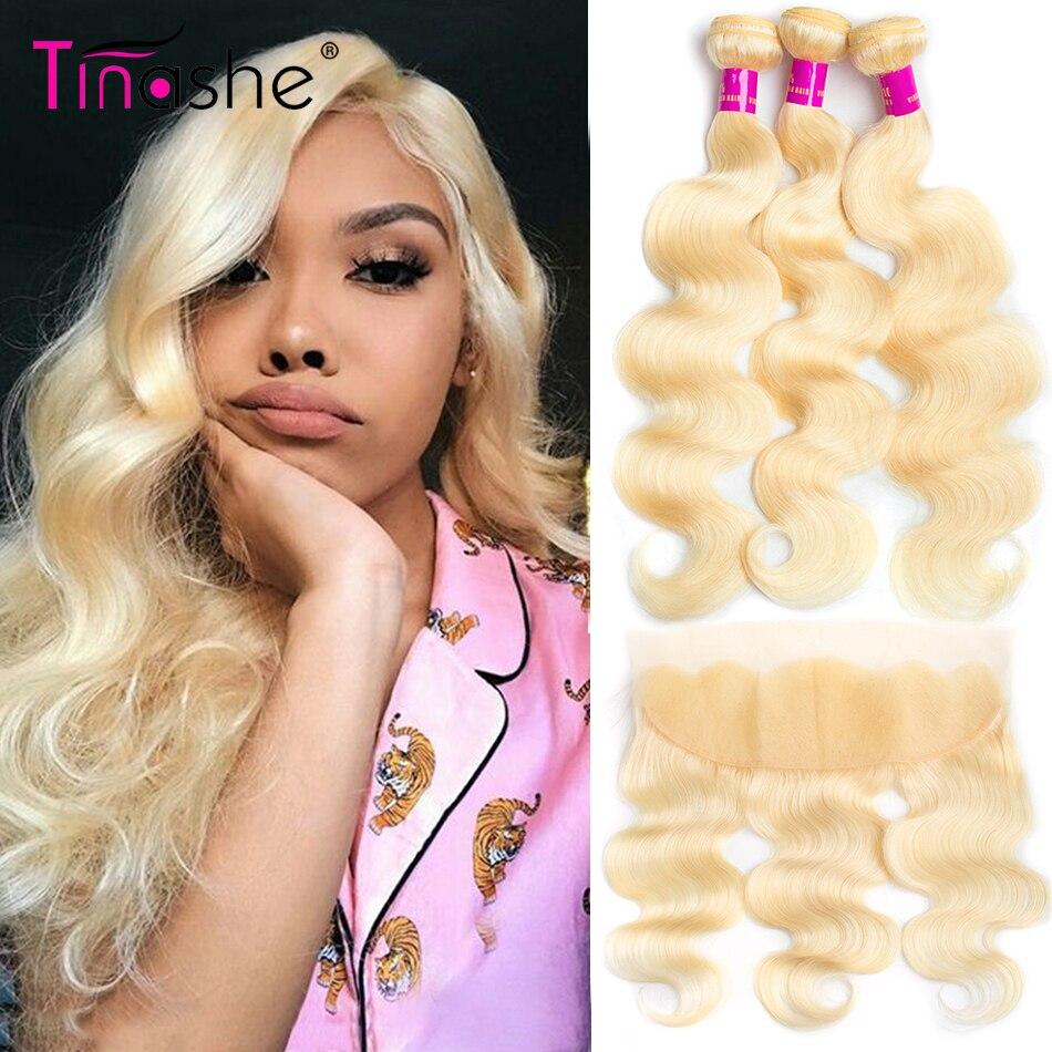 Tinashe-mechones de pelo ondulado con Frontal brasileño, 3 mechones con cierre, extensiones de cabello humano mechones Rubio Remy con Frontal