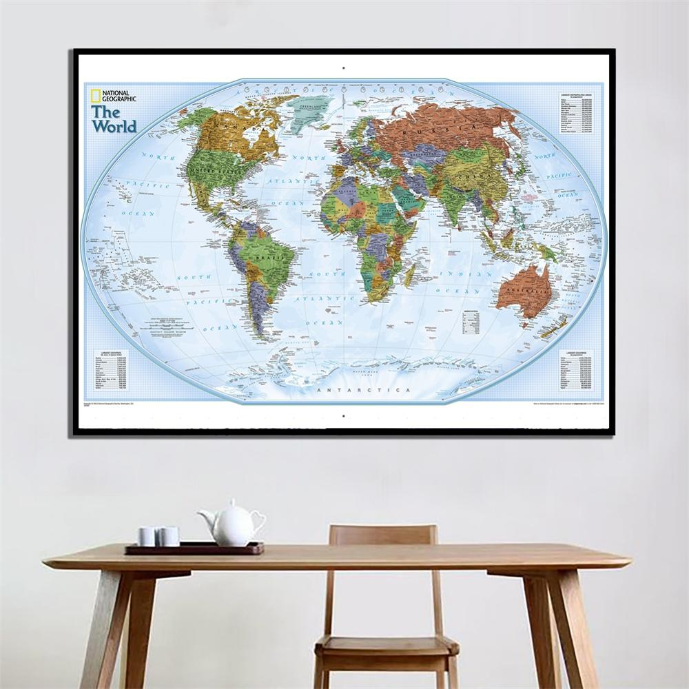 60x90cm The World Polar Projection 2012 Version World Map HD Wall Map For Home Living Room Decoration