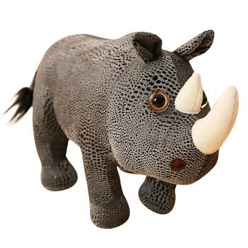 Cartoon Simulation Big Rhino Plush Toy Cow Bull Doll Animal Pillow Soft Toys Cushions Home Decoration Birthday Gift Good Quality cartoon crocodile doll pillow cushions birthday gift 80cm super big size free shipping yh 47