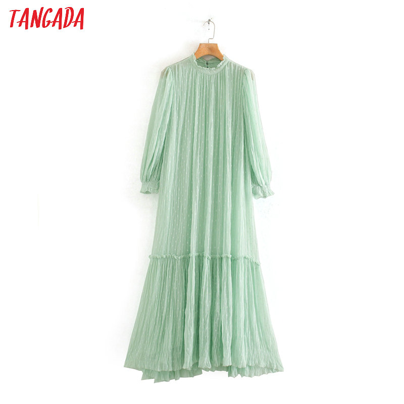 Tangada Fashion Women Light Green Mesh Maxi Dress Long Sleeve Back Buttons Ladies Dots Embroidery Dress Vestidos 2W128