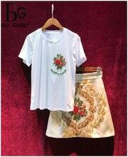 Baogarret Summer Runway Womens Skirt Suit Luxury Beading Cotton T-shirt + Baroque Printing Leisure 2-piece Set Women