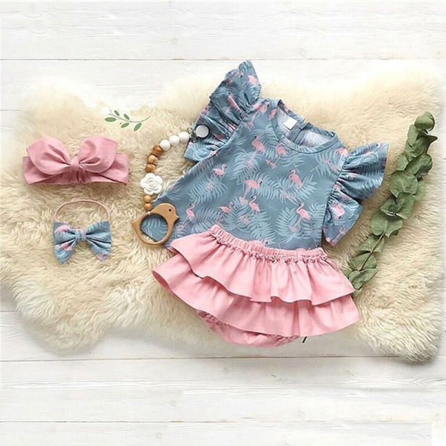 Imcute-ensemble de vêtements 3 pièces   Ensemble de vêtements pour bébés filles, pour lété, haut + Shorts + bandeau, tenues flamand petit