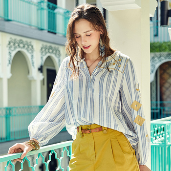 ARTKA 2020 Spring Summer New Women's Blouse Vintage Indie Folk Embroidery Blouse Lantern Sleeve V-Neck Stripe Shirt SA20709C юбка artka qb17249d