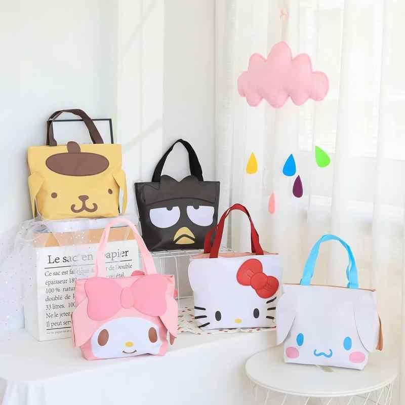 Ciao Kitty My Melody Cinnamoroll PomPomPurin BadBadtz-maru Tote Della Borsa Shopping Bag Studente di Cartoon Sacchetto del Pranzo per I Bambini