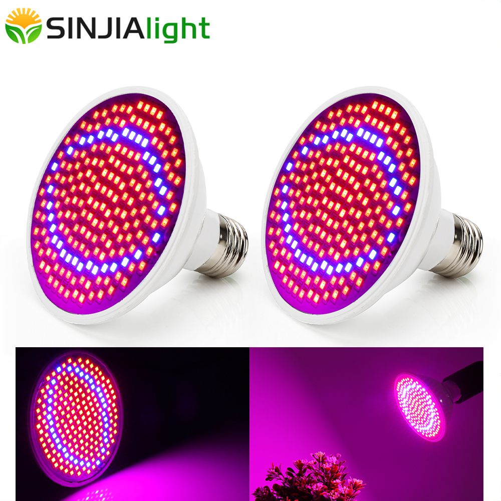 2PCS 200LEDs Grow Light 20W Plant Growing Lamp Bulbs For Flowers Seeds Garden Greenhouse Fitolamp Grow Box Plant Lights E27